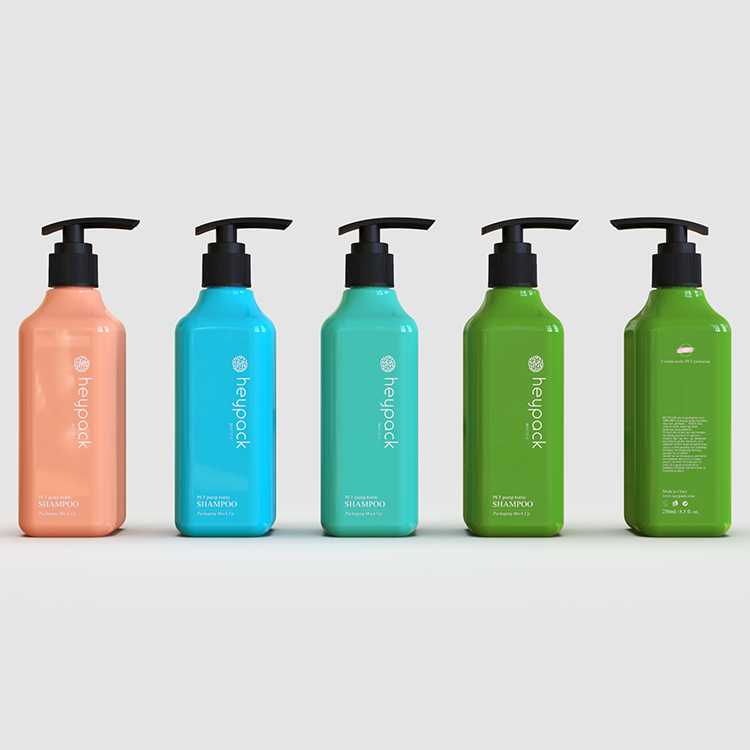 Solid blue, dark green and skin care PET bottle design