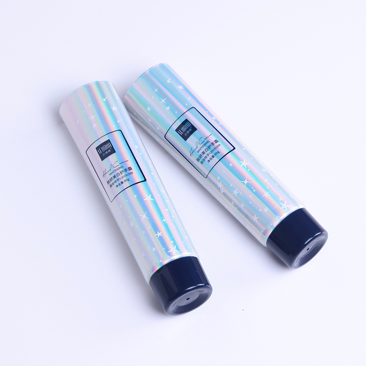 unseal ending  body moisturiser cosmetic oval tube with Gold stamping